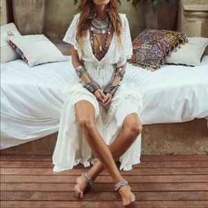 The Tulum White Lace Crocheted Maxi Dress